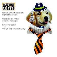 Collare Forma Cravatta Per Cane Animali In Raso Arancione e Nero Taglia Piccola