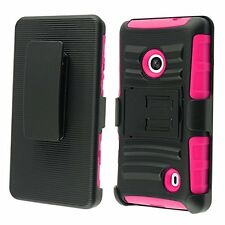 Nokia Lumia 521(metroPcs) Side Stand Cover Case With Holster - pink