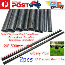 "2pcs 20"" 500mm 3K Carbon Fiber Tube Glossy Plain Wrapped Pipe Roll OD 5mm- 22mm"