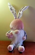 Easter Spring Gnome Odellette Sitting 20'' Pink Gray Rhinestone Egg Floral New