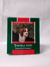 """Hallmark Keepsake Handcrafted Ornament """"Thimble Puppy"""" #12 Collector's 1989 New"""