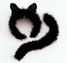 Black Cat Fancy Dress Set Ears & Tail Halloween Party