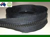 No 10, Black Heavy Duty Chunky Teeth Sewing on Tent, Open End Zip, 244 cm
