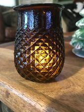 Antique amber Victorian Diamond Quilted Glass Christmas Fairy Light Lamp