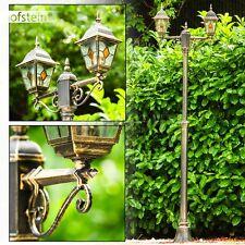 Außenstehlampe Wege Lampen Garten Weg Aussen Steh Leuchten Kandelaber braun Gold