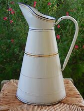 Nice Antique French Enamelware BODY PITCHER - enamel vintage GOLD/BLUE/WHITE