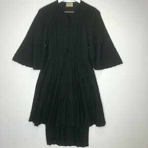 Missoni Nordstrom Women's 42 Vintage Black Button Front Skirted Swiss Dot Dress