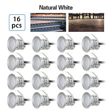 16X IP67 Natural White LED Recessed Deck Light Stair Garden Lights+Power Supply