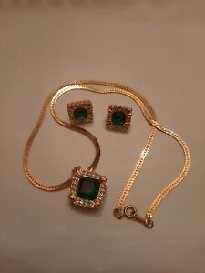 Avon Gold Toned Necklace And Earring Set Green Stones And Rhinestones