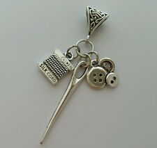 Sewing Silk Cord Button Needle Dangle Bead fit Silver European Charm Bracelet