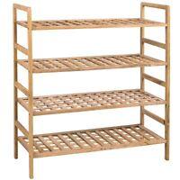 Shoe Rack 4 Tier Criss Cross Shelf Walnut Wood Organiser Storage Stand Unit