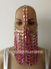 Fashion HE63 Women Gold Chains Purple Color Plastic Leaf Mask Face Head Jewelry