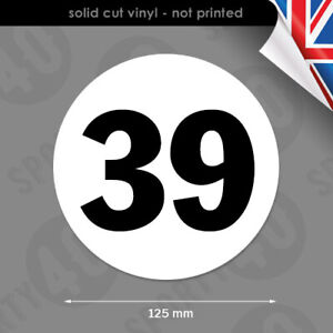 2x 125mm Round Race Number - Decal Vinyl Sticker - Number Roundel 6103-0119