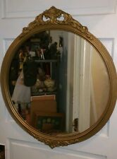 """Antique Wood Carved Gold Gesso Giltwood Framed Round Glass Mirror 30"""" X 26"""""""