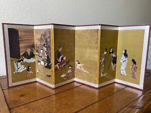 JAPANESE MINIATURE DECORATIVE FOLDING SCREEN WITH 6 PANELS