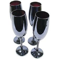 Set Of 4 Black Lustre Champagne Glasses 300ml Babycham Wedding Drinks Flutes New