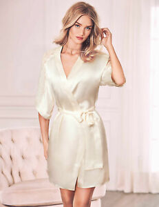 NEW ROSIE AUTOGRAPH M & S STUNNING IVORY SILK LACE ROBE DRESSING GOWN £135 16