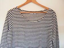 KENAR 100% Linen Black/White Stripe Top - XL - NWOT