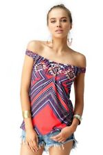 Sky Clothing Brand NWT XS Top Off Shoulder Bright Coral Purple Tribal Printed