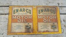 Vintage EN-AR-CO Motor Oil 1 Imperial Quart Can  Sides amazing condition 11 x 6