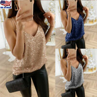 Women Strappy V Neck Sleeveless Blouse Tank Tops T-Shirt Casual Vest Top Sequins
