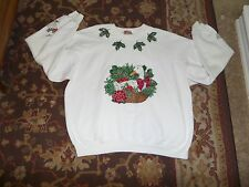 HANES HANDMADE UGLY CHRISTMAS SWEATSHIRT SIZE XXL WHITE DUCKS AND HOLLY GLITTER