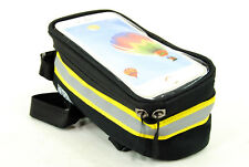 Bicycle Front Frame Pannier Tube Bag Case For Cell Phone,Black/Yellow