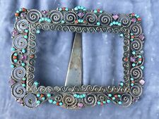 VINTAGE MEXICAN STERLING SILVER FRAME WITH TURQUOISE, CORAL AND AMETHYST