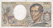 BILLET DE 200 FRANCS MONTESQUIEU  1989 D-072