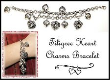 ~CHUNKY FILIGREE PUFF HEART CHARM BRACELET~Silver Plated~Chunky Chain~Multi Size