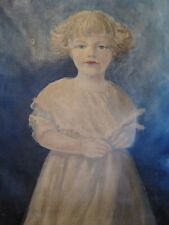 ANTIQUE AMERICAN FOLK ART OIL PAINTING YOUNG BLONDE GIRL WHITE DRESS BLUE EYES