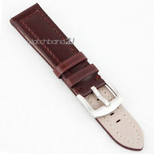 Smooth Matt Leather Brown Watch Band Strap Wide Hole Brushed Clasp for Big Watch