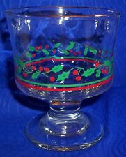 Collectible Christmas Gold Rimmed, Holly Design Goblet