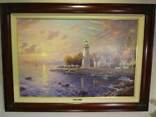 "Thomas Kinkade Serenity Cove S/N Le Canvas 24"" X 36"" Burl Frame, gold or Brandy"