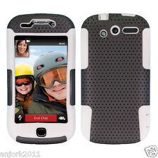 For HTC MyTouch 4G Hybrid Mesh Dual Layer Case Skin Cover Grey/White