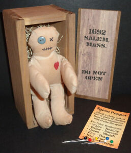Poppet of Salem Voodoo Doll in 1692 Salem Mass. Wooden Shipping Crate!
