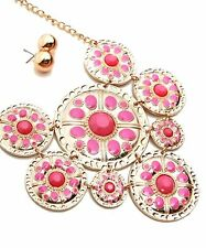 Gift Boxed Fashion Bib Necklace Hot Pink Enamel & Stones On Large Gold Disc's