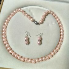 8mm pink Akoya Shell Pearl necklace AAA 18 inches Earring Set  c09