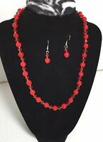 Brand new Qvc simulated red pearls necklace and earring set great holiday gift