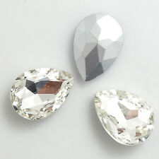 Hot 15pcs Faceted Crystal Glass rhinestones Silver Teardrop beads 10x14mm