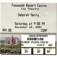 Deborah Harry Concert Ticket Stub Mashantucket Ct 11/10/07 Foxwoods Blondie Rare