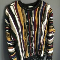 Vintage 90s Men's Size S Coogi Style Sweater Knit 3D Multicolor Long Sleeve Y2k