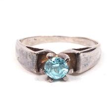 Vintage Anillo Plata de ley con / Azul Diamante Imitacion tamaño 5.50