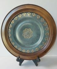 Toyo Decorative Plate made in China / Round Collector Asian Plate Wood Frame