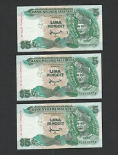 (C) 3pcs Malaysia 7th RM5 Ahmad Don TDRL, Prefix PX - Crisp AUNC