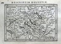 SWITZERLAND, HELVETIA, LUZERN, ZURICH, BERN, BERTIUS. original antique map 1618
