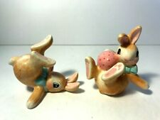 Lot Of 2 Fitz & Floyd Hand Crafted Tumbling Bunnies Rabbits Easter Figurines