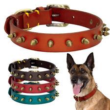 Brown Genuine Leather Studded Dog Collar Small Large Dog Adjustable Bulldog XS-L