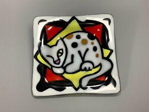 Art Glass Cat Dish Coin Tray Key Tray