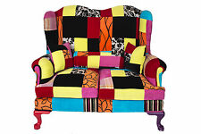 Patchwork Queen Ann Wingback 2 Seater Sofa Vintage Shabby Chic Antique Style